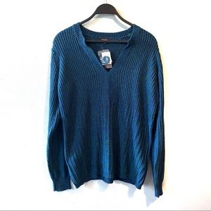 NWT Cotton Ginny Split Neck Sweater